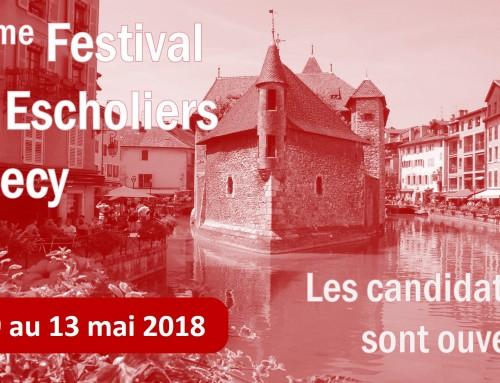 11e Festival des Escholiers d'Annecy 2018 – Inscrivez-vous