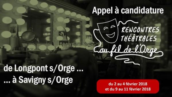 Rencontres Théâtrales 2018 - Au fil de l'Orge - Appel à candidature